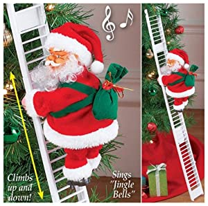 Electric Santa Claus Climbing Ladder, Creative Climbing Up and Down Santa Claus Plush Doll with Music, Santa Climbing Rope Ladder Hanging Xmas Ornament Toy for Party Home Door Wall Decoration (Ladder)