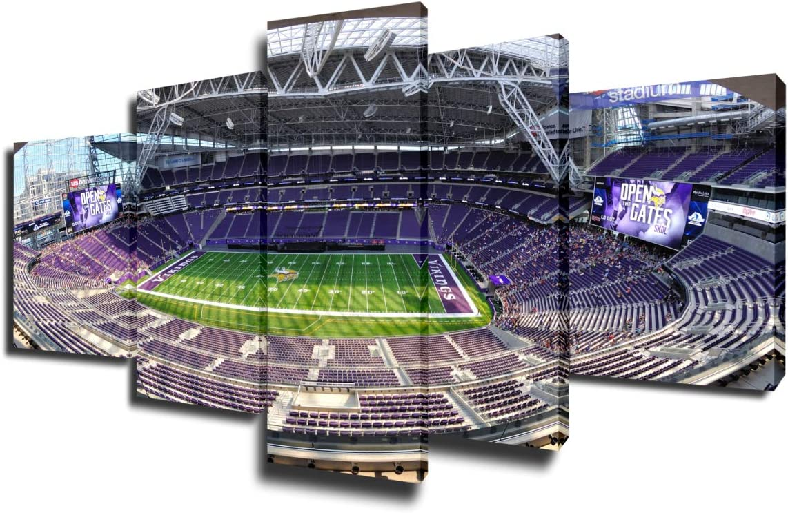 Sports Room Decor Minnesota Vikings Pictures for Living Room US Bank Stadium in Minneapolis Paintings 5 Piece Canvas Wall Art Home Decorations Artwork Framed Stretched Ready to Hang(50''Wx24''H)