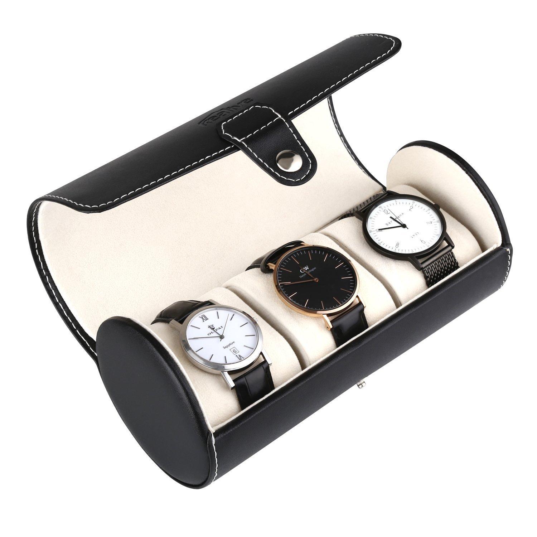 Watch Organizer, Watch Storage, Jewelry Case, Portale Men 3 Slots, Solid Lock, Black Leather, White Suede Interior