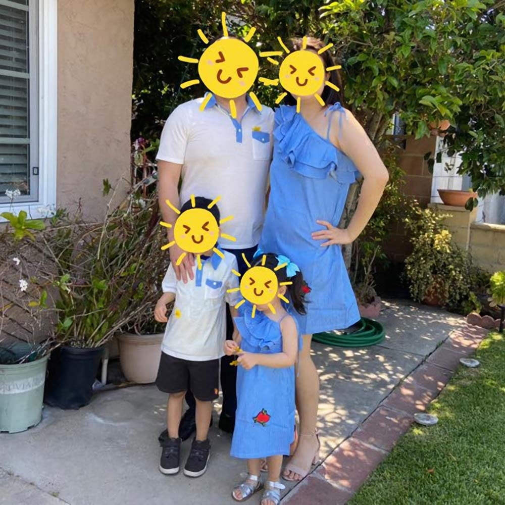 Mumetaz Family Matching Outfits Sundress Short Sleeve T-Shirt Halter Dresses