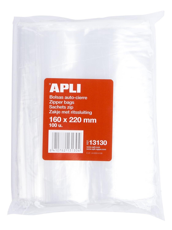 APLI 13130 –  Sacchetti richiudibili, confezione da 100 pezzi, 160 x 220 mm confezione da 100pezzi 160x 220mm