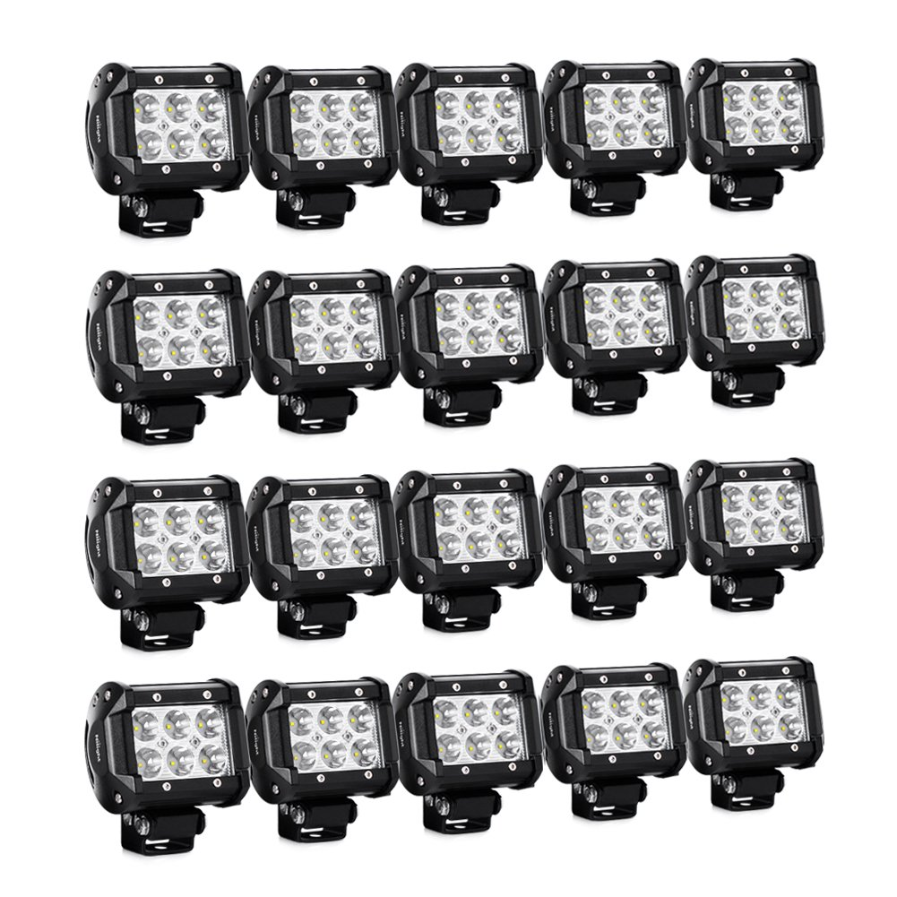 "Nilight 20PCS 18W 4"" 1260lm Spot Driving Fog Lights Off Road Led Light Bars Mounting Bracket SUV Boat Jeep Lamps, 2 Years Warranty"