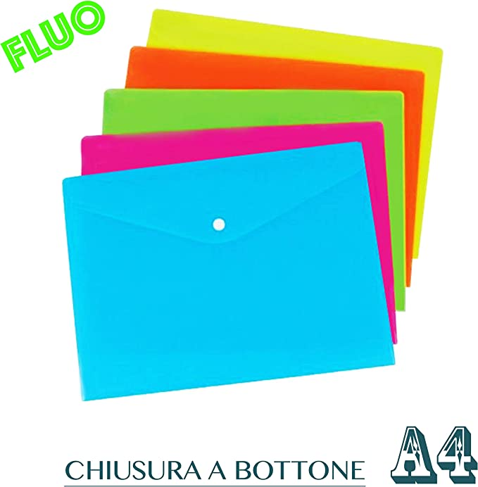 Vicloon Cartelle Portadocumenti in Plastica A4 Portadocumenti Trasparente Busta con Bottone per Scuola e Ufficio 5 colori 10pcs