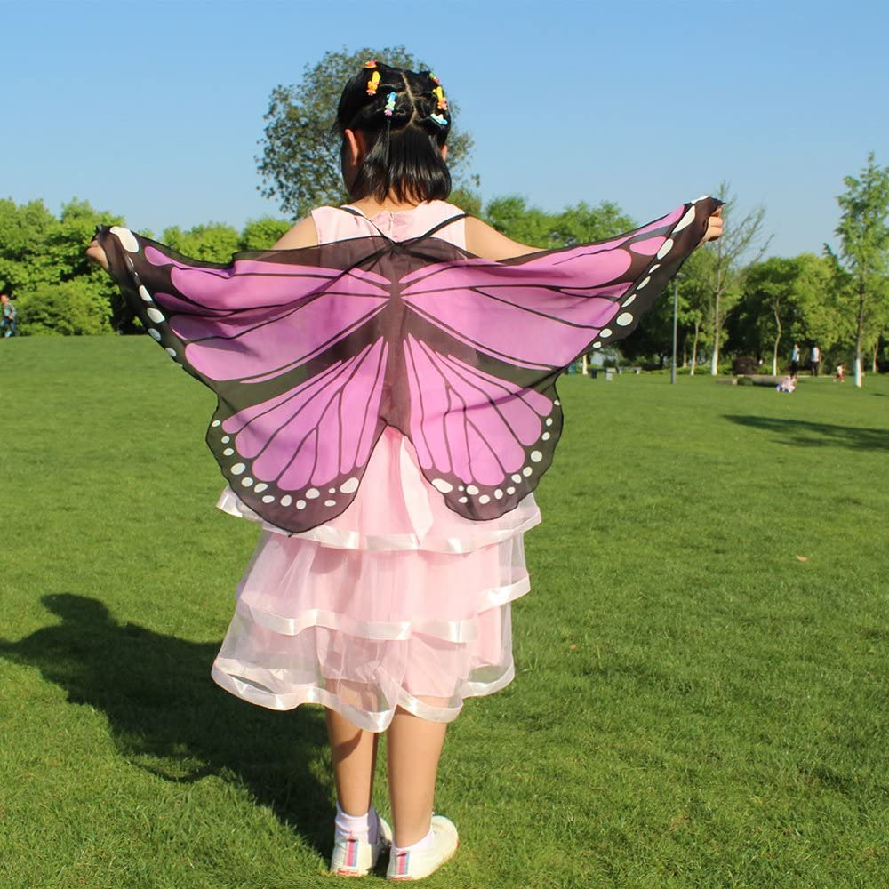 LIVEBOX Kids Monarch Butterfly Wings Shawl Cape Scarf Fabric Dance Wing Dress Up Costume Accessary