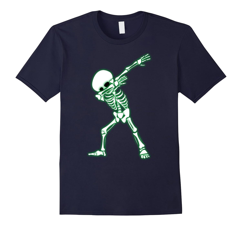 Dabbing Skeleton Shirt - Halloween Skull Dab Glow T-Shirt-T-Shirt