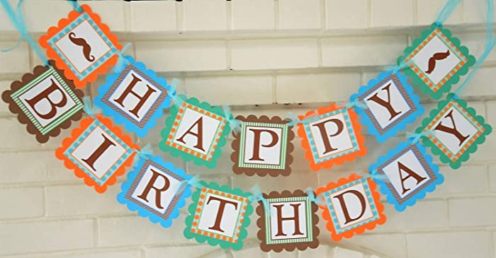 happy birthday little man theme banner customizable happy birthday party banner mustache theme banner