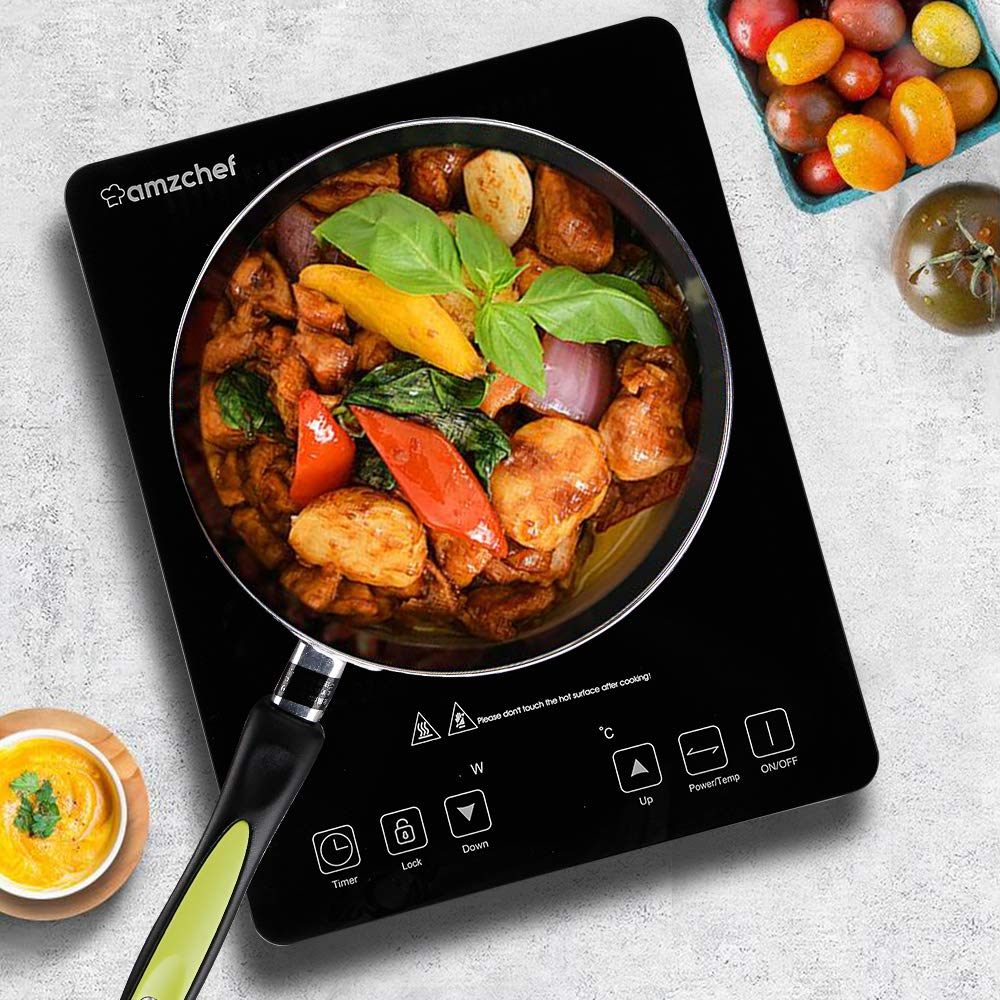 Amzchef Induction Hob,2000W Single Induction Cooker with Timer Child Lock