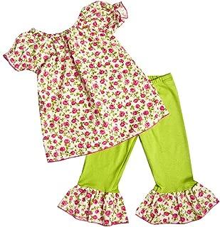 product image for Cheeky Banana Sweet Little Girls Roses top & Leggings Fuchsia/Lime