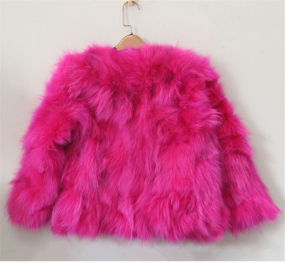 QMFUR New Girls 100% Real Sliver Fox Fur Coat Jacket (8-9 Years Old, Red) by qmfur (Image #3)