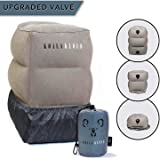 Koala Kloud Inflatable Travel Foot Rest Pillow - Best Kids Travel Pillow for Sleep on a Long Flight/Car Trip/Trains/The Office, PVC Flocking, Grey, 3 Heights