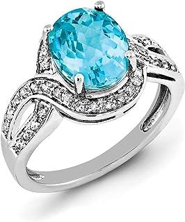 925sterling Silver Diamond Aceent e topazio blu ovale anello da cocktail, misura 7(3.44ct)