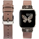 Wearlizer Leather Compatible with Apple Watch Band 38mm 40mm for iWatch Womens Embellishment Strap Replacement Classic…