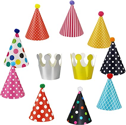 15 childrens party hats cone shape assorted patterns birthday partys adult