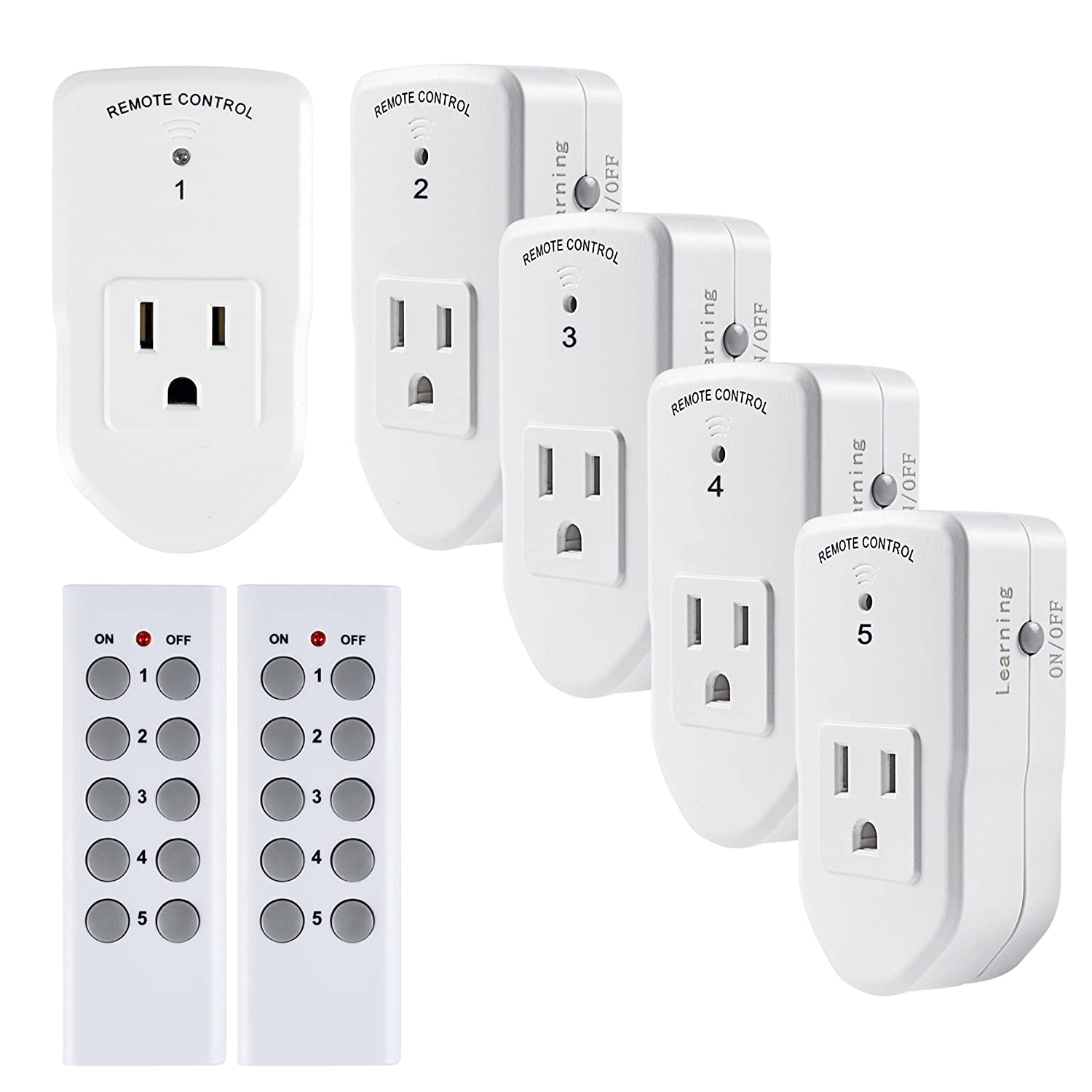 Century Wireless Remote Control Electrical Outlet Switch (5 Outlets 2 Remotes, Indoor, White)