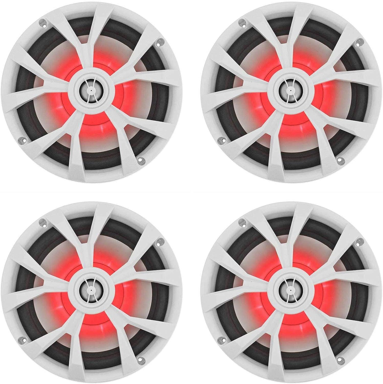 """(4) Rockville RKL80MW 8"""" 900 Watt White 2-Way Marine Boat Speakers w/LED's"""