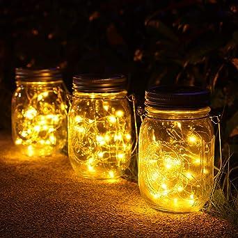 lámparas Solares Exterior,Juego de 3 Luz Solar Jardín, 30 LED Impermeable Solar Masón Luz Hada Jardín Luz Solar para Decoración Jardín Fiesta Balcón Navidad vacaciones bodas (Color cálido): Amazon.es: Iluminación
