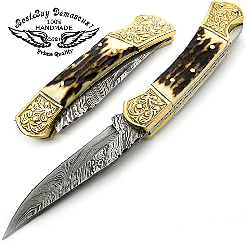 Stag Horn Brass Double Bloster with Scrimshaw Work 7.6 Handmade Damascus Steel Folding Pocket Knife with Back Lock 100 Prime Quality