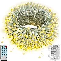 Hezbjiti Luces de cuerda de batería Hezbjiti, 100 luces de cadena de hadas activadas por sonido de LED con remoto, luces…