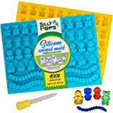 Gummy Bear Mold Bpa Free Silicone (Yellow, Blue) - Set of 2 for 86 Candies - 5 Different Types of Animals - Dropper Included