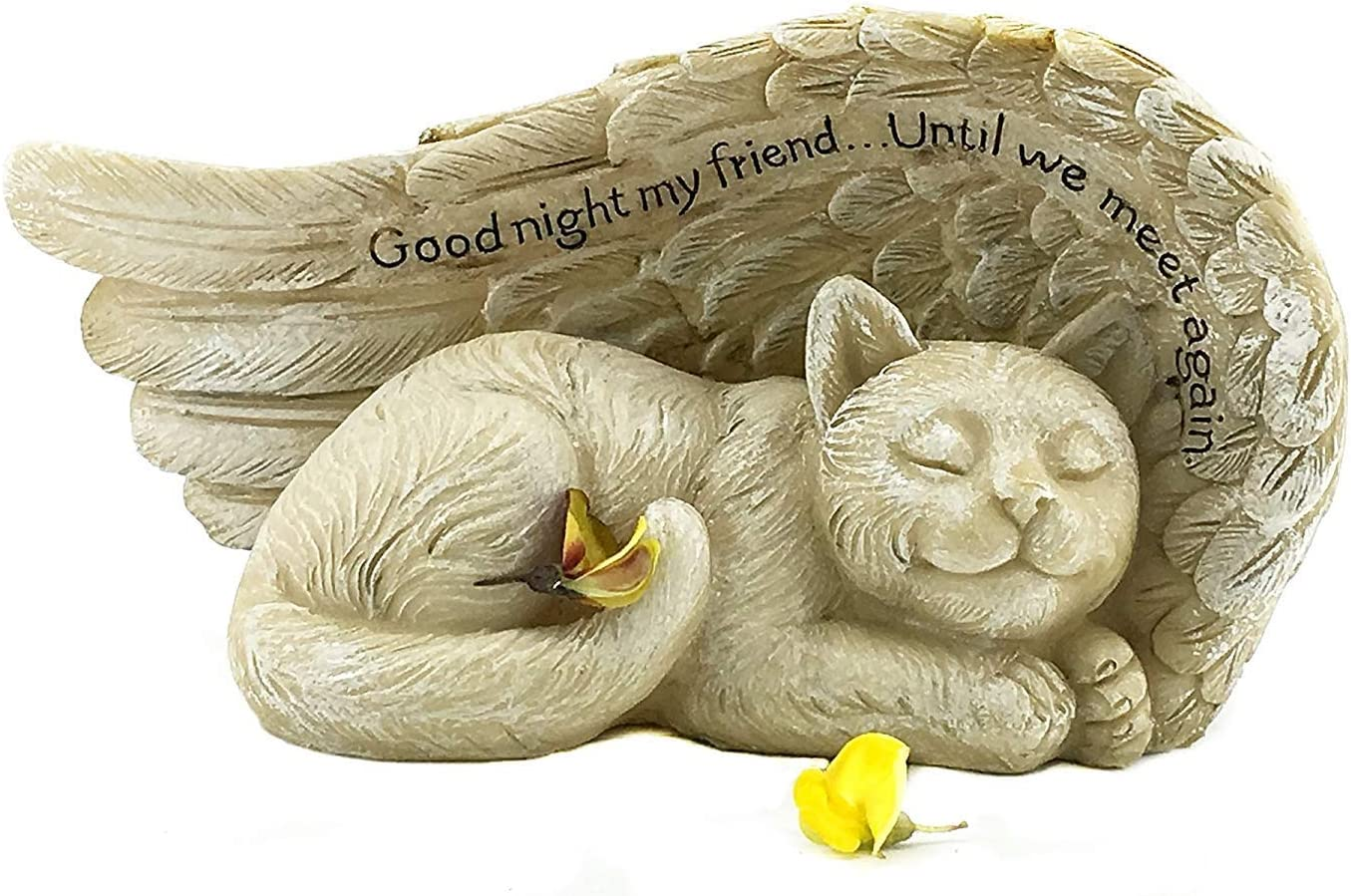 Bellaa 22823 Cat Angel Pet Memorial Grave Marker Tribute Statue 8 Inch