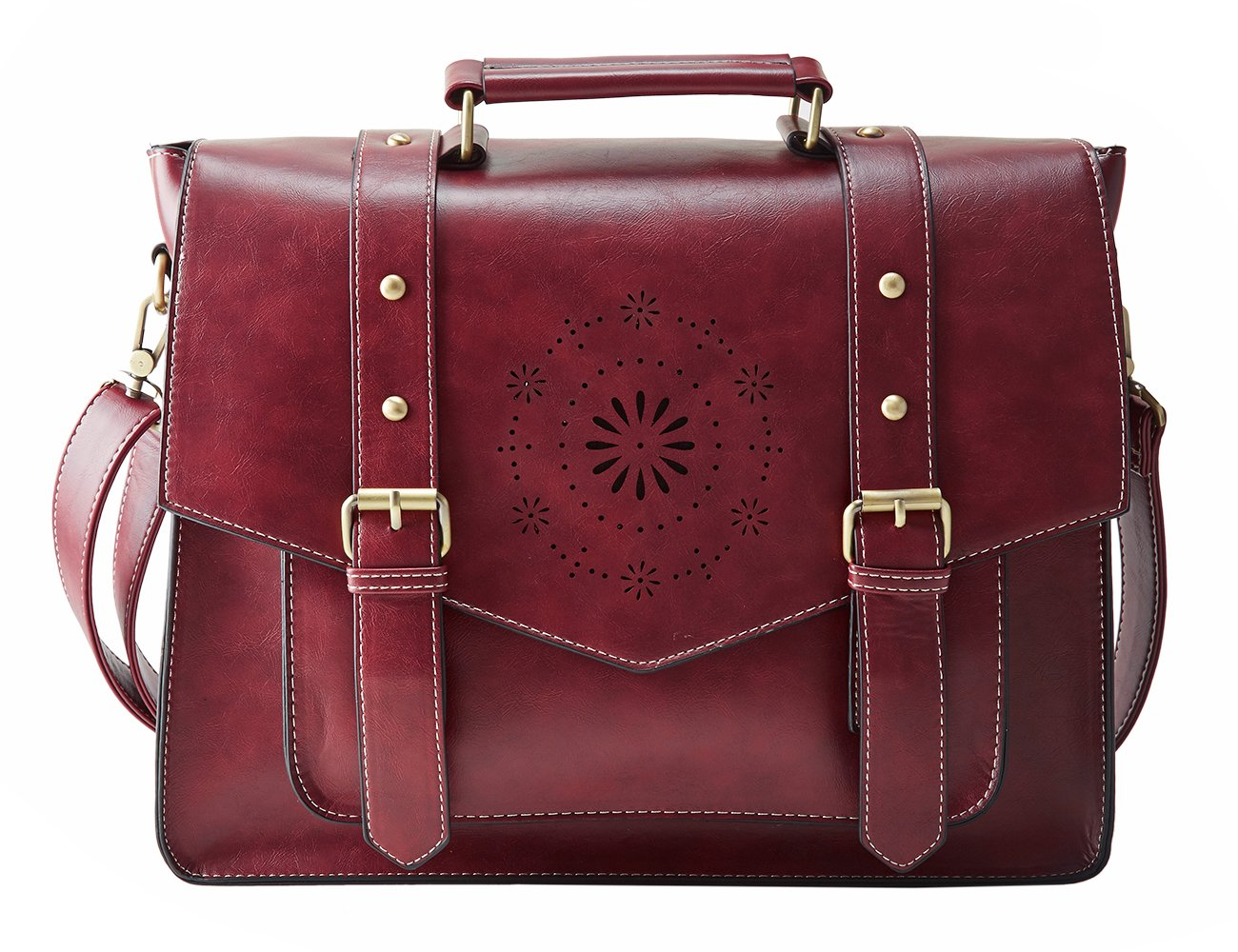 ECOSUSI Women's PU Leather Laptop Bag Tote Messenger Bag Crossbody Briefcase Fit 14'' Laptop, Red