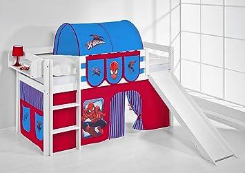 Etagenbett Hochbett Spielbett Kinderbett Jelle 90x200cm Vorhang : Lilokids spielbett jelle spiderman hochbett mit rutsche und