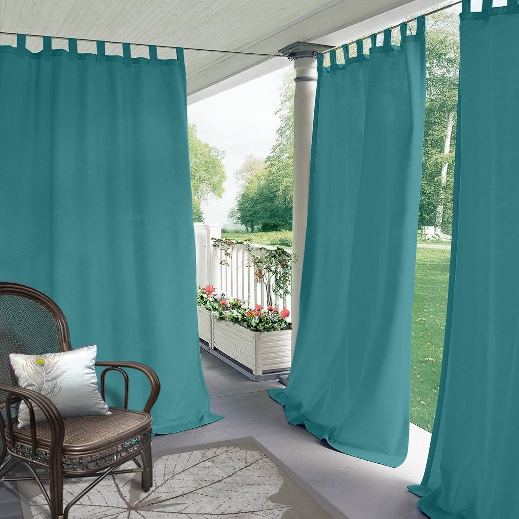 Blackout Outdoor Curtain Tab Top Turquoise 84'' W x 120'' L for Front Porch, Pergola, Cabana, Covered Patio, Gazebo, Dock, and Beach Home (1 Panel).