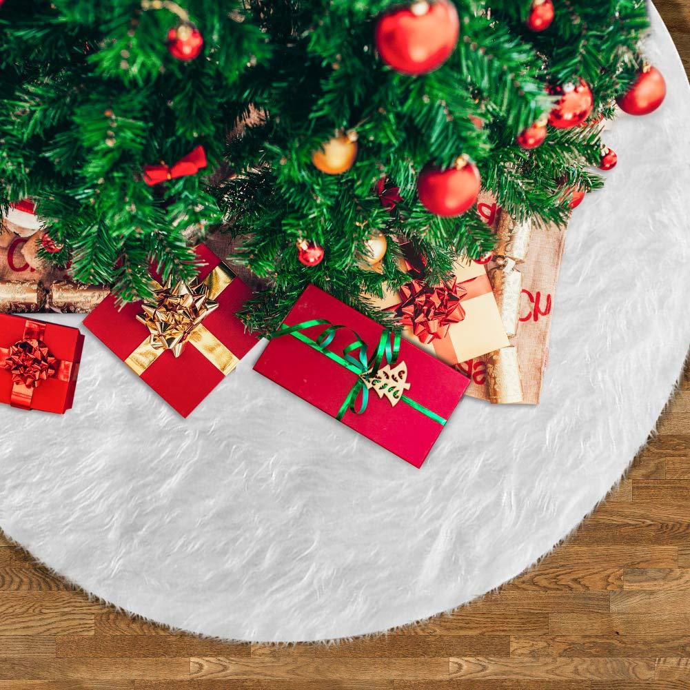 78cm Christmas Tree Skirt White Plush Xmas Tree Skirt for Christmas Party Holiday Decor