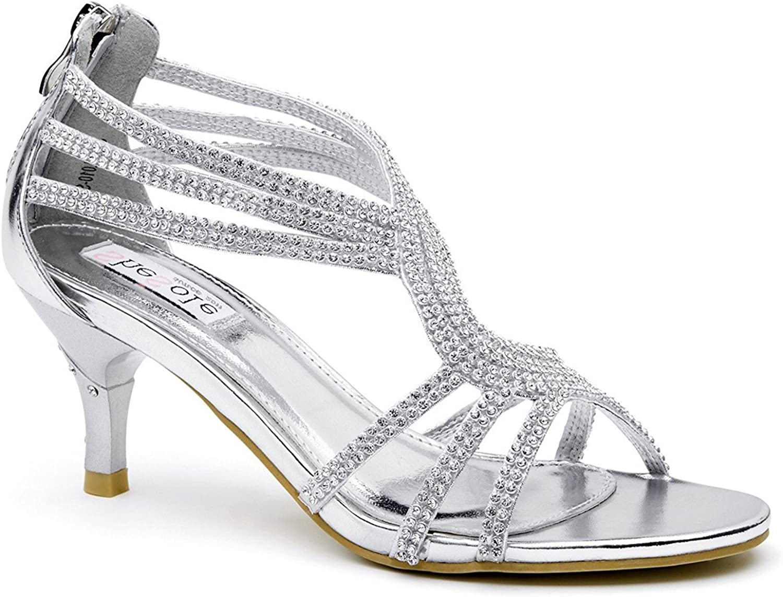 Lara/'s Womens Low Heel Dance Sandals Wedding Shoes Rhinestone