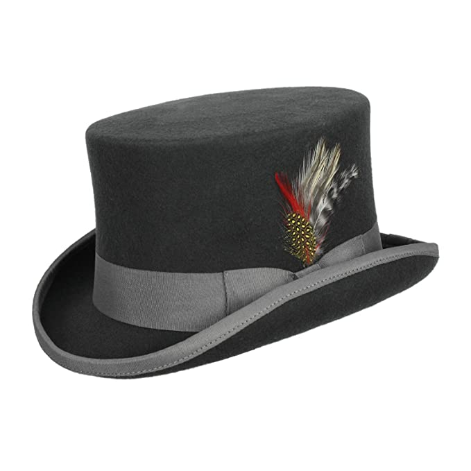 Vintage Men's Costumes – 1920s, 1930s, 1940s, 1950s, 1960s Mens Victorian Style Coachman Top Hat with Feather Dark Gray $49.95 AT vintagedancer.com