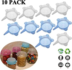 Adpartner Silicone Stretch Lids (10 Pack, All 3.74inch), Reusable Small Silicone Lids BPA-free Seal Can Covers for Regular and Wide Mouth Mason Jars, Cups, Soda, Canned Pet Food, Fit for 3.8 to 5.5 in