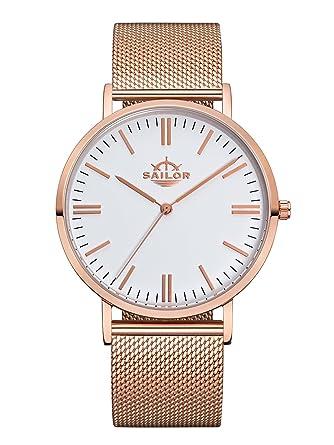 Sailor Damen Herren Uhr Classic Analog Quarz Mit Edelstahl Armband
