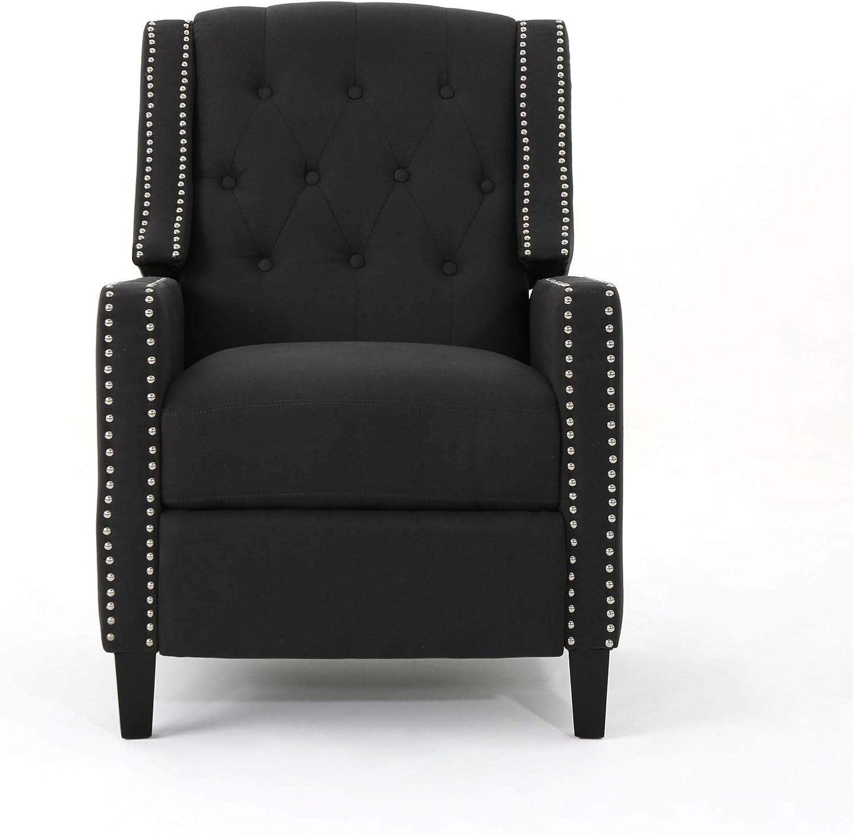 Christopher Knight Home Izidro Traditional Fabric Recliner, Dark Charcoal / Dark Brown