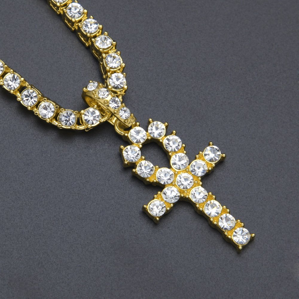 """Mens Set of 2 Gold Fn Tennis Chains with Ankh Pendant 4MM 18/"""" /& 20/"""" chain set"""