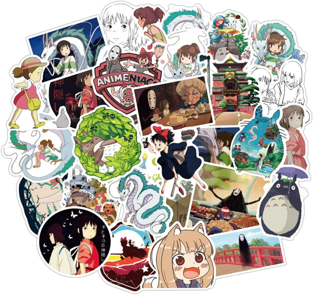 Pack of 50 Cute Vinyl Stickers of Spirited Away,Waterproof Anime Stickers Gift for Kids Boys Girls Teens Toddlers,Trendy Aesthetic Stickers Decals for Laptop Waterbottle MacBook Flasks Phone Computer