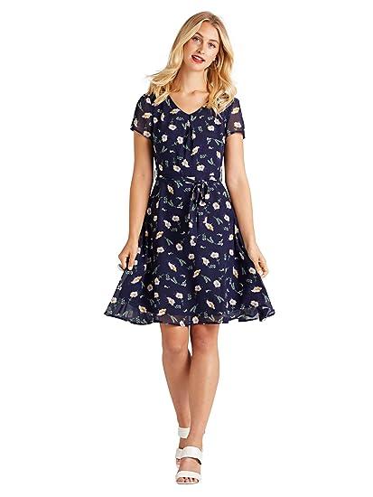 06096657863 YUMI Navy Daisy Print Tie Waist Skater Dress  Amazon.co.uk  Clothing