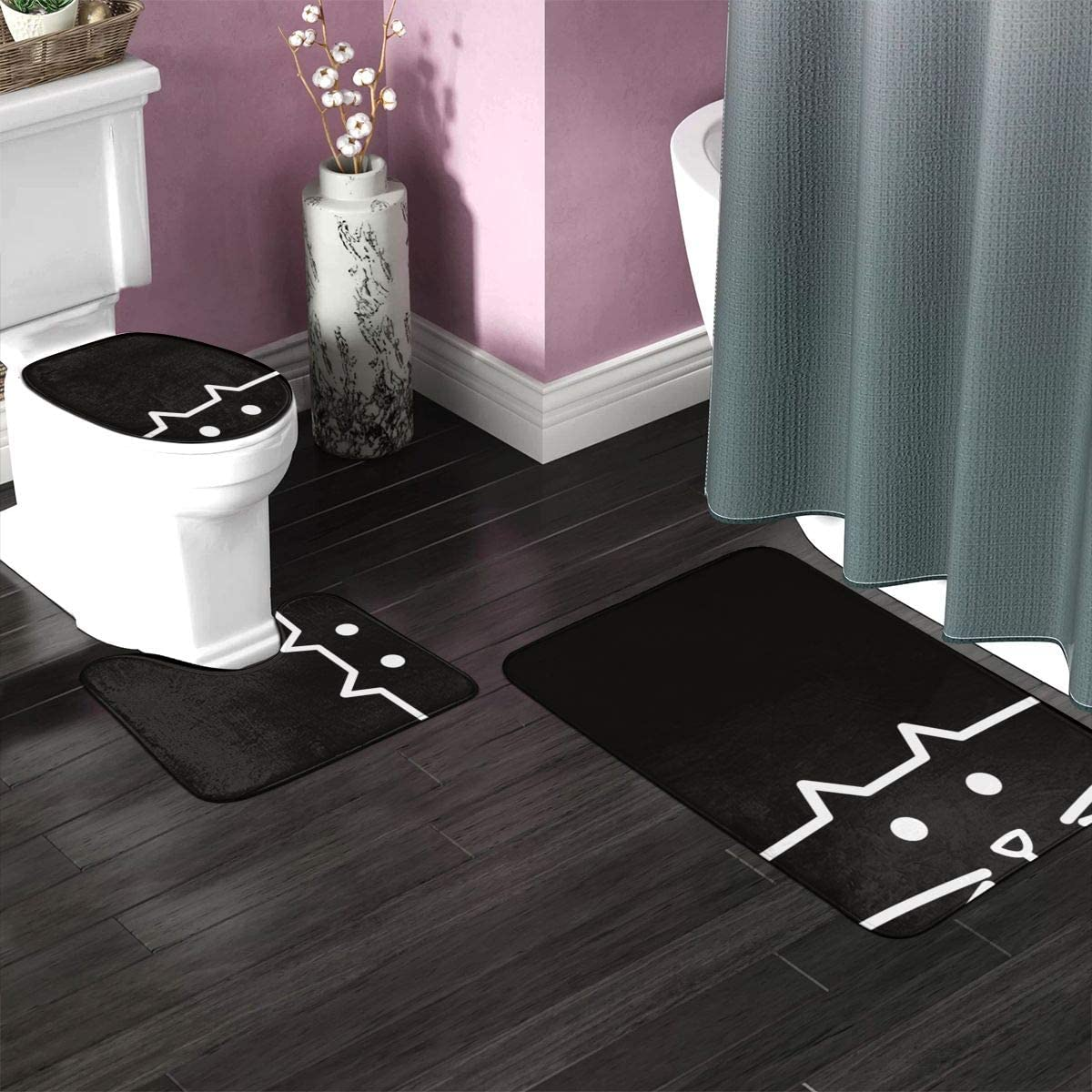 Toilet seat Cover 3pcs Set Bathroom Mat Antiskid Pad You Didnt Rescue A Cat Rescued You Animal Shelters Near Me 50 80cm