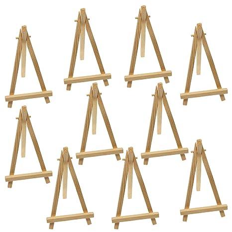 Waycreat 10 Pieces Mini Wooden Easel Triangle Wedding Table