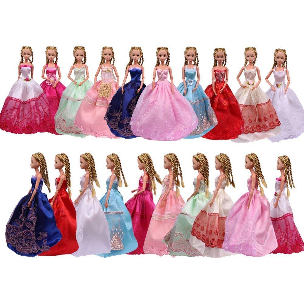 Teenitor 5 pièces Fait main Mode Fête De Mariage Robe Robes & Vêtements pour Poupée Barbie Cadeau De Noël By FBA