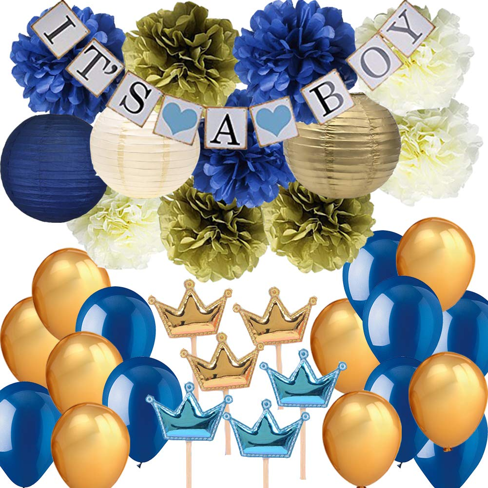 Navy Blue Baby Shower Party Decorations-It's A BOY Banner Tissue Pom Pom Paper Lanterns Balloons with Crown Cupcake Toppers Picks for Royal Prince Baby Shower Nautical Baby Shower 1st Birthday Decor