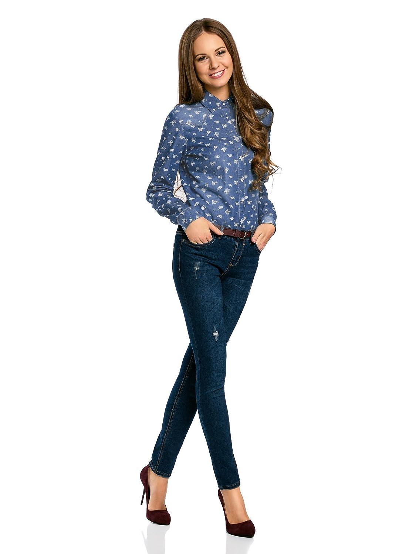 oodji Ultra Donna Camicia in Jeans con Bottoni a Pressione