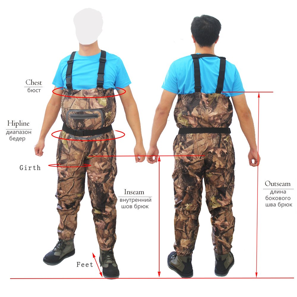 Kylebooker Camuflaje Bionic Impermeable Vadeador de Pecho Pesca Caza Waders Pantalones Ropa Transpirable Ghillie Traje con Bala Ammo Cintura Cinturón: ...