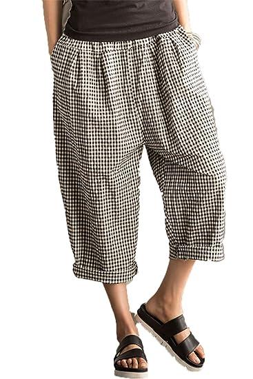 a07603ccff Fantasylinen Women s Casual Linen Wide Leg Pants Trousers with Elastic  Waist Large
