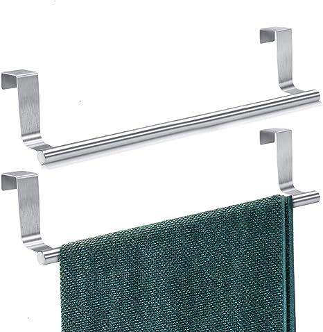 Towel Rack for Cabinet 2 Pack Strong Steel Kitchen Over Cabinet Towel Bar Rack