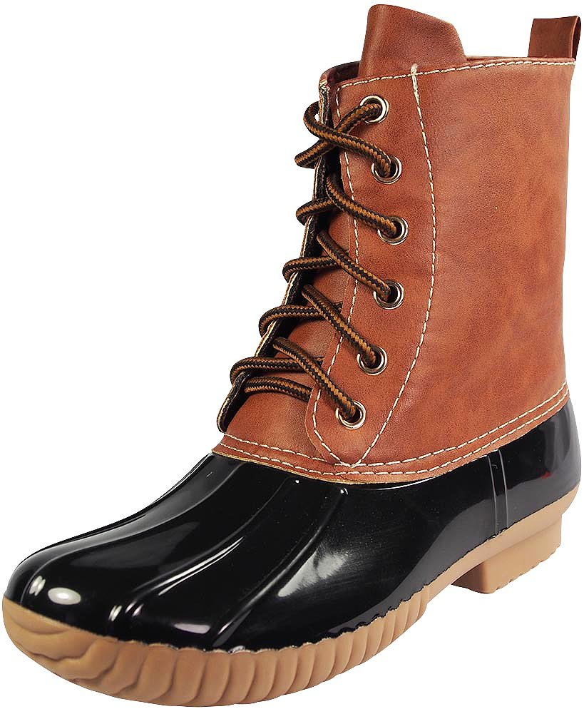 AXNY Dylan Women's Lace up Two Tone Combat Style Calf Rain Duck Boots,Black,8.5