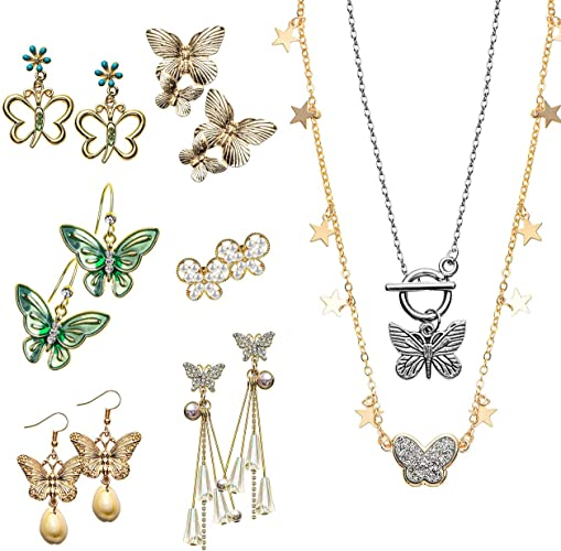 Petit cadeau collier papillon femme boucle d/'oreille chaîne pendentif bijoux