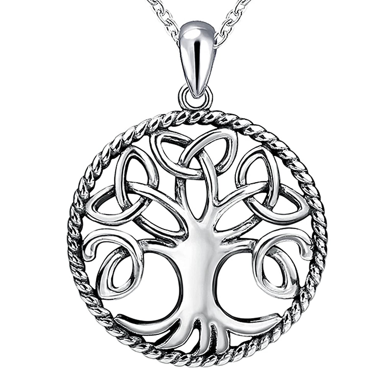 Apotie 925 sterling silver Double Love Heart Tree of Life Round Shape Pandant Necklace with White Cubic Zirconia for Women Chain 18'' j1xwAi