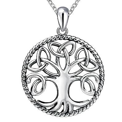Apotie 925 sterling silver tree of life irish triquetra trinity apotie 925 sterling silver tree of life irish triquetra trinity celtic knot pendant necklace for women aloadofball Choice Image