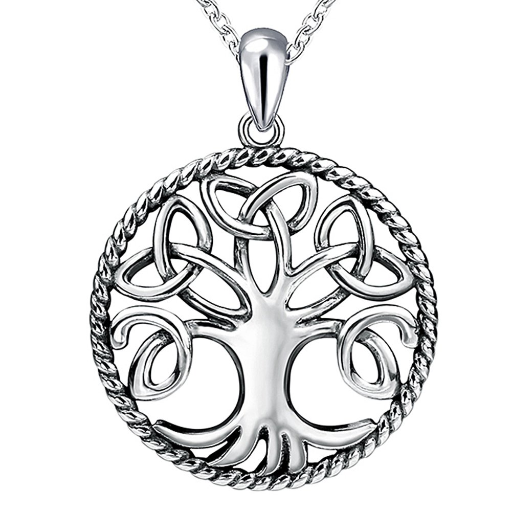 Apotie Sterling 925 Silver Celtic Knot Tree of Life Charms Pendant Necklaces Long Jewelry Chain 18 Inch for Women Or Girls