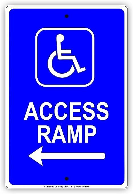 Amazon.com: Handicap - Señal de entrada de rampa con flecha ...